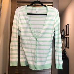 Mint Green and White Striped Cardigan